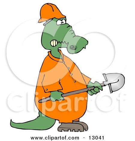 Angry Alligator Construction Worker Holding A Shovel Clipart Illustration