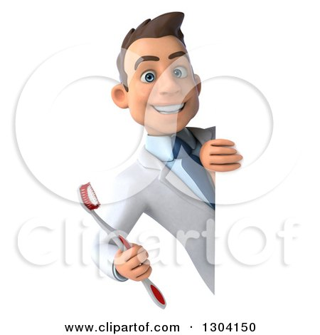 Clipart of a 3d Happy Young Brunette White Male Dentist with a Toothbrush, Smiling Around a Sign - Royalty Free Illustration by Julos