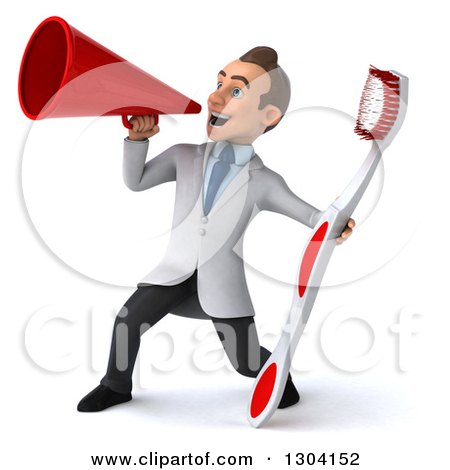 Clipart of a 3d Happy Young Brunette White Male Dentist with a Giant Toothbrush, Using a Megaphone - Royalty Free Illustration by Julos