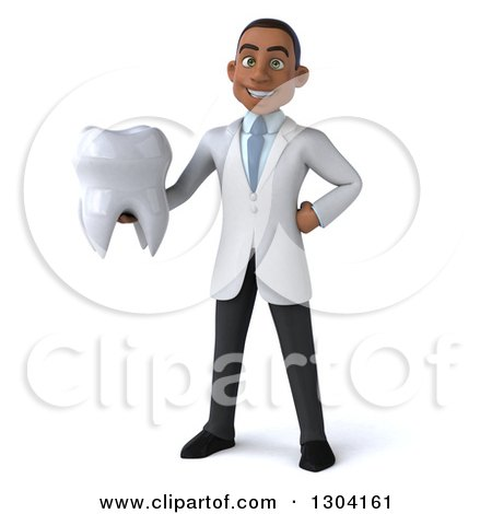Clipart of a 3d Young Black Male Dentist Holding a Giant Tooth - Royalty Free Illustration by Julos