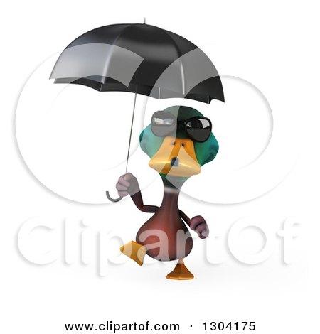Clipart Of A 3d Mallard Drake Duck