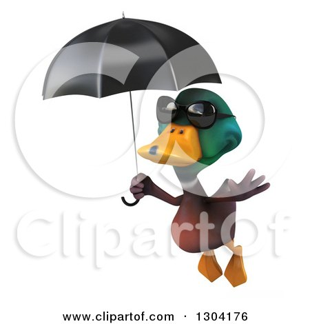 Clipart of a 3d Mallard Drake Duck Wearing Sunglasses and Flying with an Umbrella - Royalty Free Illustration by Julos
