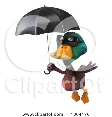 Clipart Of A 3d Mallard Drake Duck Wearing Sunglasses And