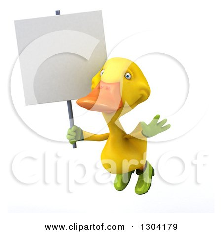 Clipart of a 3d Yellow Gardener Duck Flying with a Blank Sign - Royalty Free Illustration by Julos