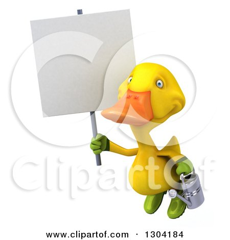 Clipart of a 3d Yellow Gardener Duck Flying with a Watering Can and a Blank Sign - Royalty Free Illustration by Julos