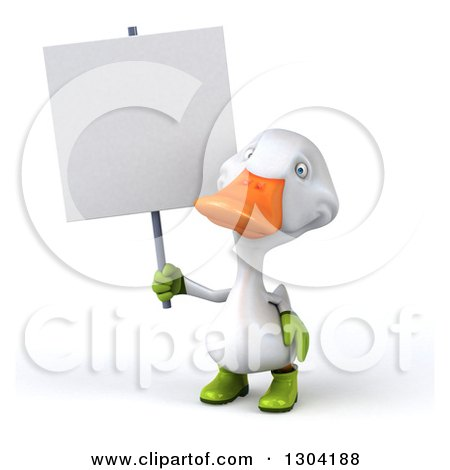 Clipart of a 3d White Gardener Duck Holding up a Blank Sign - Royalty Free Illustration by Julos
