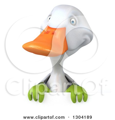 Clipart of a 3d White Gardener Duck over a Sign - Royalty Free Illustration by Julos