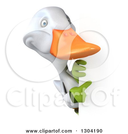 Clipart of a 3d White Gardener Duck Pointing Around a Sign - Royalty Free Illustration by Julos