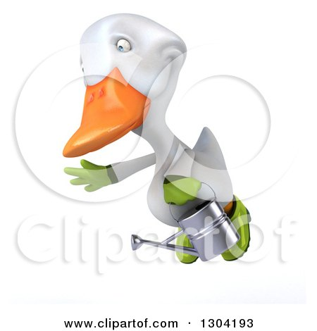 Clipart of a 3d White Gardener Duck Flying to the Left with a Watering Can - Royalty Free Illustration by Julos