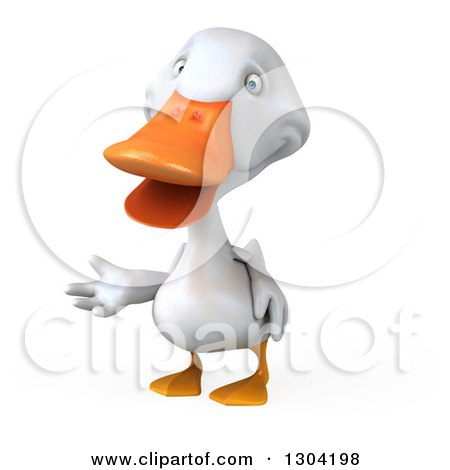 Clipart of a 3d White Duck Presenting - Royalty Free Illustration by Julos