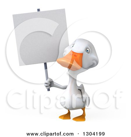 Clipart of a 3d White Duck Holding up a Blank Sign - Royalty Free Illustration by Julos