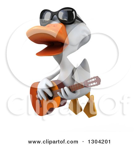 Clipart of a 3d White Duck Wearing Sunglasses, Flying and Playing a Guitar - Royalty Free Illustration by Julos