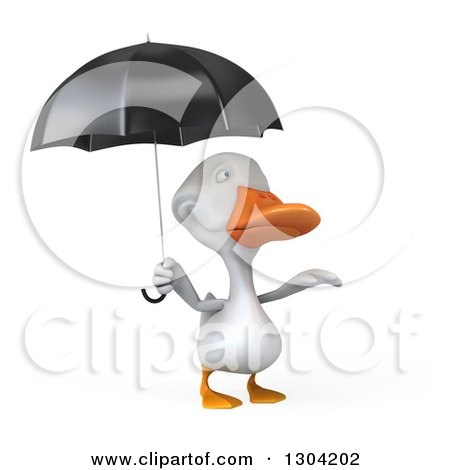 Clipart of a 3d White Duck Reaching out from Under an Umbrella - Royalty Free Illustration by Julos