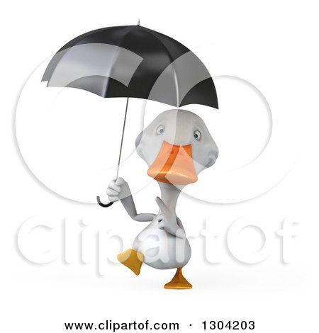 Clipart of a 3d White Duck Walking and Pointing up at an Umbrella - Royalty Free Illustration by Julos