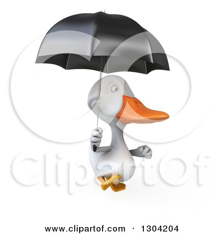 Clipart of a 3d White Duck Running with an Umbrella - Royalty Free Illustration by Julos