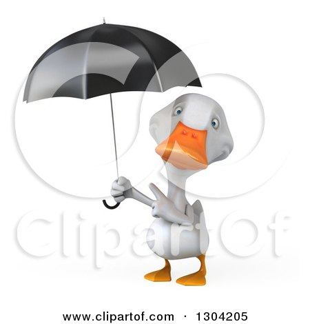 Clipart of a 3d White Duck Pointing up at an Umbrella - Royalty Free Illustration by Julos