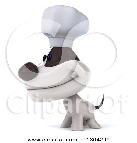 Clipart of a 3d Jack Russell Terrier Dog Chef Smiling and Facing Left - Royalty Free Illustration by Julos