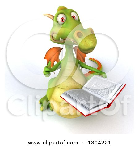 Clipart of a 3d Green Dragon Holding up a Thumb and a Book - Royalty Free Illustration by Julos