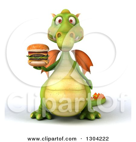 Clipart of a 3d Green Dragon Holding up a Double Cheeseburger - Royalty Free Illustration by Julos