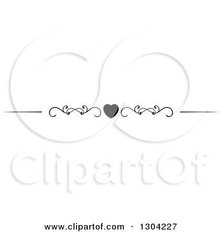 Clipart of a Black and White Heart and Swirl Border Rule Design Element 7 - Royalty Free Vector Illustration by Vector Tradition SM