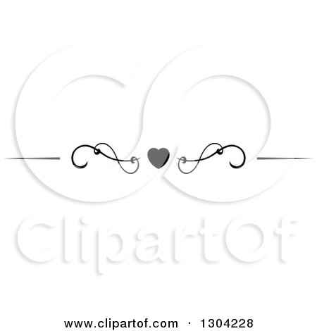 Clipart of a Black and White Heart and Swirl Border Rule Design Element 6 - Royalty Free Vector Illustration by Vector Tradition SM