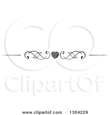 Clipart of a Black and White Heart and Swirl Border Rule Design Element 2 - Royalty Free Vector Illustration by Vector Tradition SM