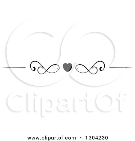Clipart of a Black and White Heart and Swirl Border Rule Design Element 3 - Royalty Free Vector Illustration by Vector Tradition SM