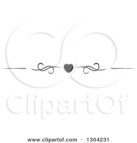 Clipart of a Black and White Heart and Swirl Border Rule Design Element 4 - Royalty Free Vector Illustration by Vector Tradition SM