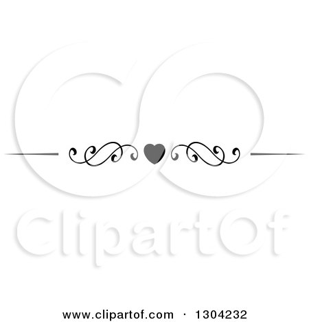 Clipart of a Black and White Heart and Swirl Border Rule Design Element 5 - Royalty Free Vector Illustration by Vector Tradition SM