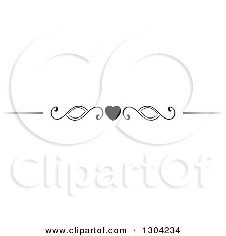 Clipart of a Black and White Heart and Swirl Border Rule Design Element - Royalty Free Vector Illustration by Vector Tradition SM