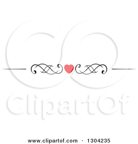 Clipart of a Red Heart and Black Swirl Border Rule Design Element 2 - Royalty Free Vector Illustration by Vector Tradition SM