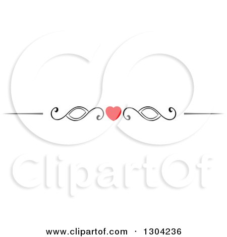Clipart of a Red Heart and Black Swirl Border Rule Design Element - Royalty Free Vector Illustration by Vector Tradition SM
