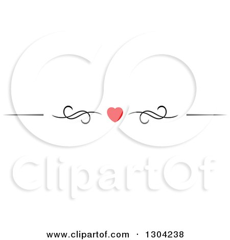 Clipart of a Red Heart and Black Swirl Border Rule Design Element 4 - Royalty Free Vector Illustration by Vector Tradition SM
