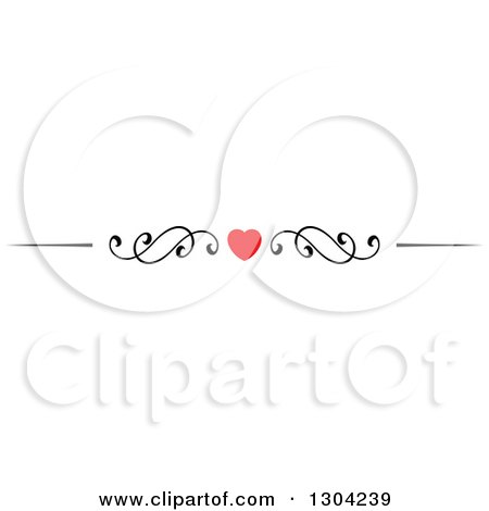 Clipart of a Red Heart and Black Swirl Border Rule Design Element 5 - Royalty Free Vector Illustration by Vector Tradition SM