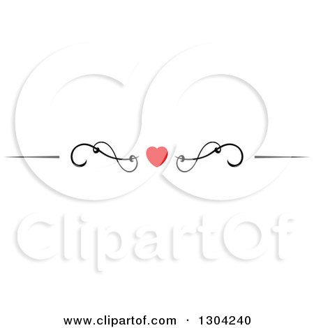Clipart of a Red Heart and Black Swirl Border Rule Design Element 6 - Royalty Free Vector Illustration by Vector Tradition SM