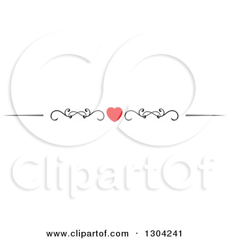 Clipart of a Red Heart and Black Swirl Border Rule Design Element 7 - Royalty Free Vector Illustration by Vector Tradition SM