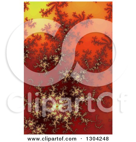 Clipart of a Red Orange and Yellow Gradient Fractal Background - Royalty Free Illustration by oboy