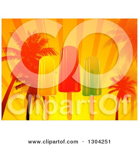 Clipart of a Popsicle, Palm Tree, Sunset Rays and Halftone Tropical Background - Royalty Free Vector Illustration by elaineitalia