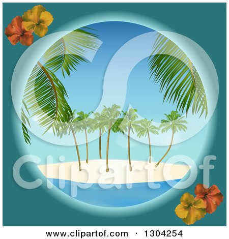 Clipart of a Teal and Hibiscus Round Frame with a Tropical Island - Royalty Free Vector Illustration by elaineitalia
