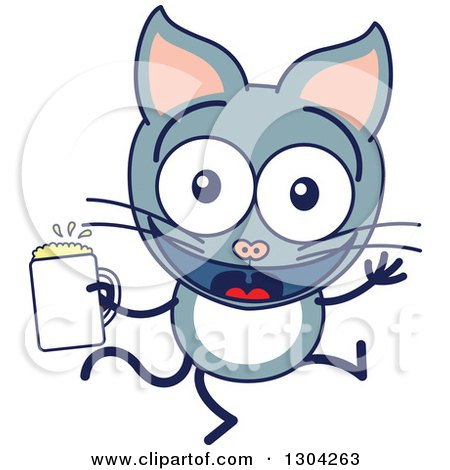 Clipart of a Cartoon Gray Cat Character Dancing with Beer - Royalty Free Vector Illustration by Zooco