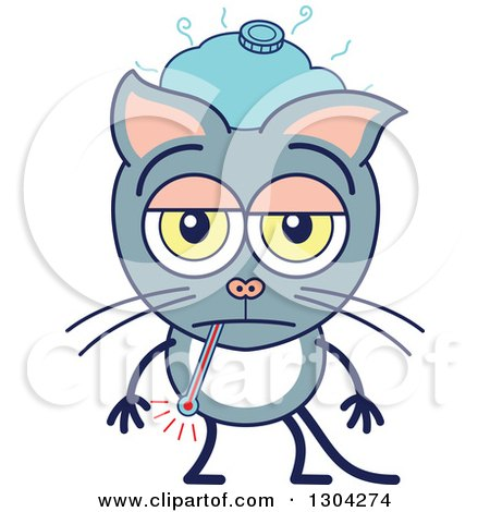 Clipart of a Cartoon Sick Gray Cat Character with an Ice Pack and Thermometer - Royalty Free Vector Illustration by Zooco