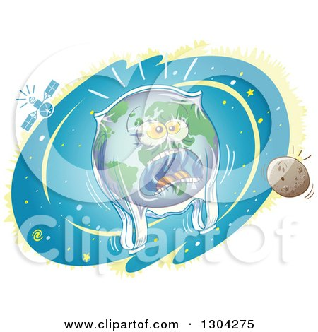 Clipart of a Cartoon Planet Earth Screaming and Being Suffocated by a Plastic Bag - Royalty Free Vector Illustration by Zooco