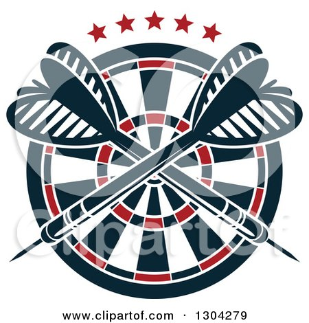 Clipart of a Target with Crossed Darts and Stars - Royalty Free Vector Illustration by Vector Tradition SM