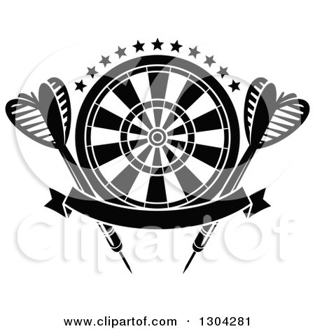 Clipart of a Black and White Target with Stars, Darts and a Blank Banner - Royalty Free Vector Illustration by Vector Tradition SM