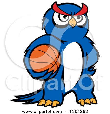Clipart of a Cartoon Blue Sporty Owl Holding a Basketball - Royalty Free Vector Illustration by Vector Tradition SM