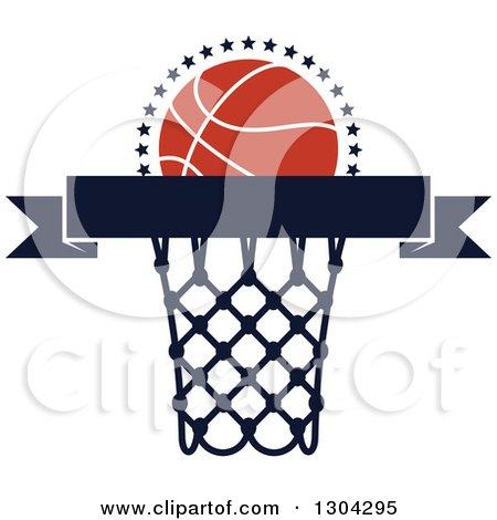 Clipart of a Blank Banner with an Orange Basketball and Hoop - Royalty Free Vector Illustration by Vector Tradition SM