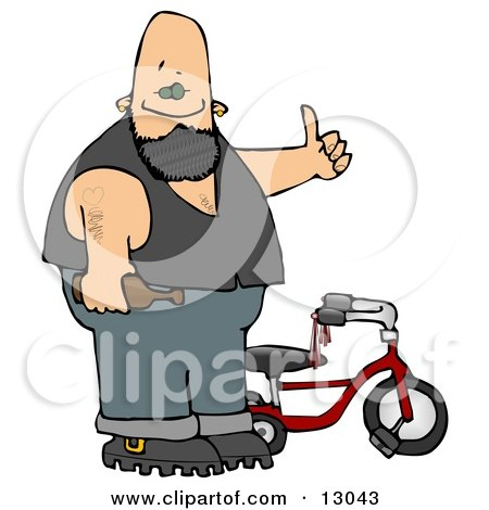 Biker Man With Tattoos, Holding a Beer Bottle and Standing by His Tricycle Clipart Illustration by djart