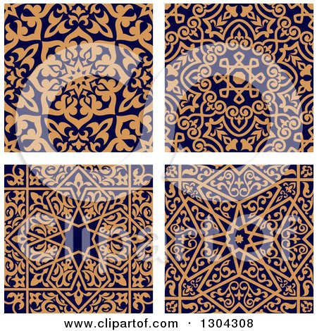 Clipart of Seamless Orange Arabic or Islamic Design Backgrounds on Navy Blue - Royalty Free Vector Illustration by Vector Tradition SM