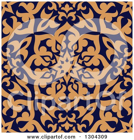 Clipart of a Seamless Orange Arabic or Islamic Design Background on Navy Blue - Royalty Free Vector Illustration by Vector Tradition SM