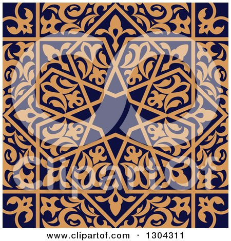 Clipart of a Seamless Orange Arabic or Islamic Design Background on Navy Blue 3 - Royalty Free Vector Illustration by Vector Tradition SM